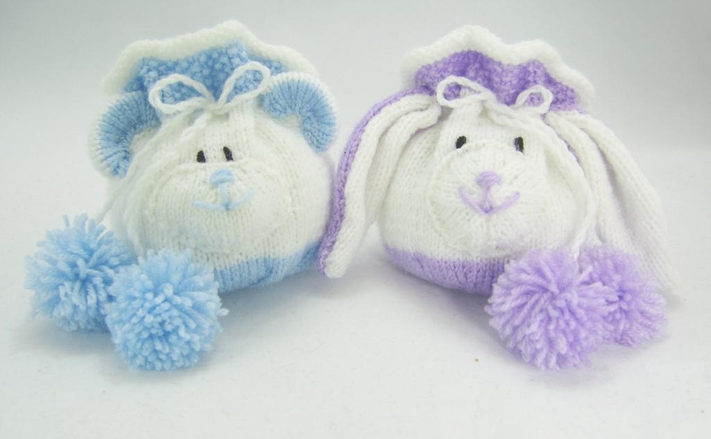 Bear And Rabbit Drawstring Gift Bags Knitting Pattern