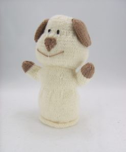 dog puppy puppet knitting pattern cream brown double knitting yarn