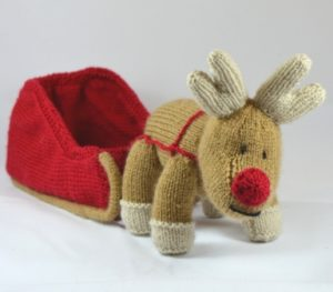Reindeer Cushion Knitting Pattern : Reindeer and Sleigh Knitting Pattern   Knitting by Post