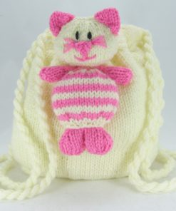 cat nap sack rucksack knitting pattern cream pink chunky bulky