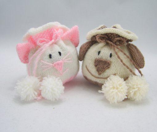 dog and cat drawstring bag knitting pattern pdf download leaflet pink brown