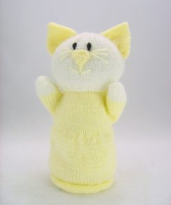 cat hand puppet knitting pattern download leaflet in yellow