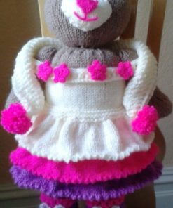 connie teddy bear knitting pattern brown with dress and slippers