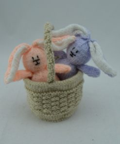 rabbits bunnies in a basket knitting pattern