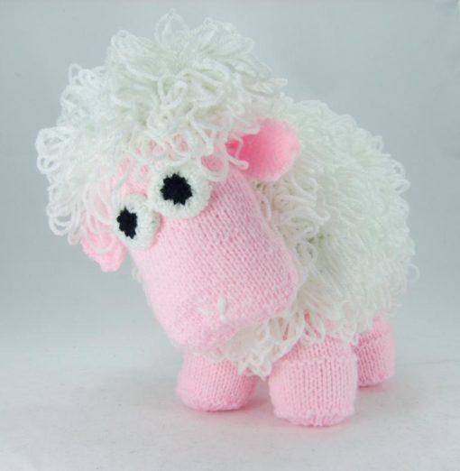 sheep knitting pattern pink and white loop stitch