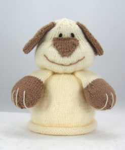 bog dog puppy toilet roll cover knitting pattern cream brown double knitting