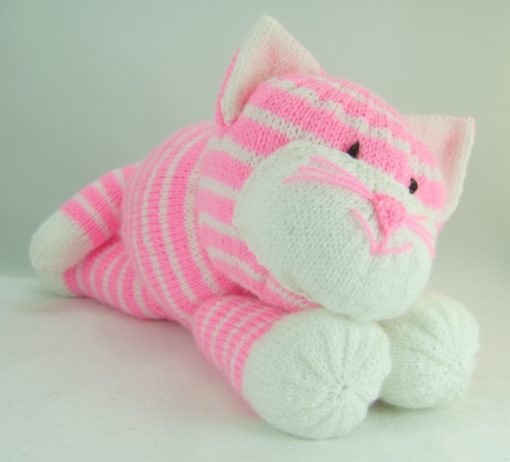 large pink cat soft toy knitting pattern in pink and white
