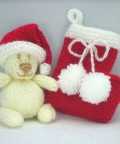 small bear and christmas stocking in red and cream double knitting yarn