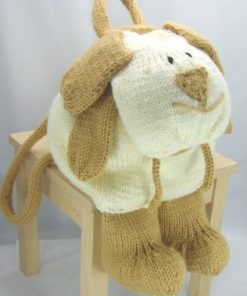 dog rucksack bag knitting pattern in chunky yarn