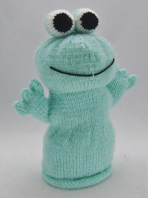 frog hand puppet knitting pattern in green