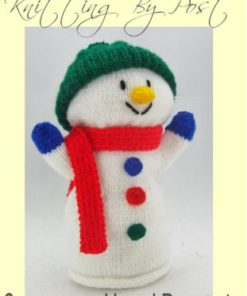 snowman hand puppet knitting pattern in white double knitting