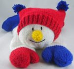smiling snowman pyjama case knitting pattern red white blue chunky yarn
