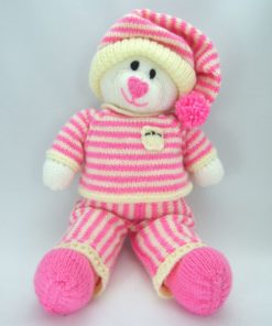 bed time bear knitting pattern pink cream white