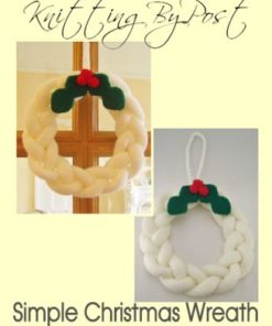 knitted christmas wreath pattern white berries holly