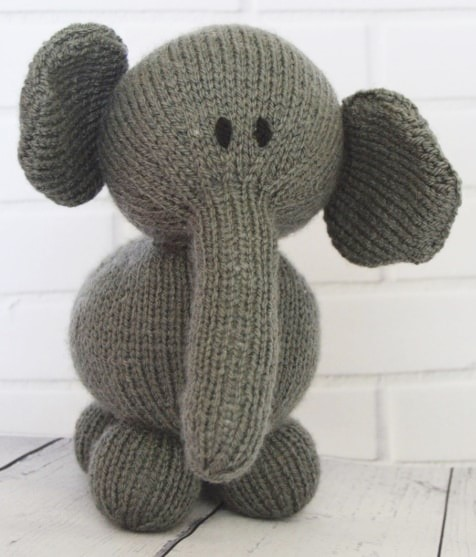 Elephant Knitting Pattern : Elephant Soft Toy   Knitting by Post