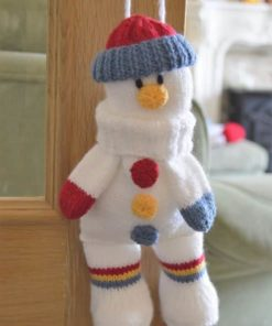 Snowman baggles gift bag knitting pattern with drawstring