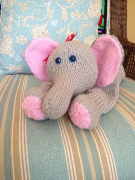 Nelly the elephant again knitted in 4 weight/aran on size 4 mm needles
