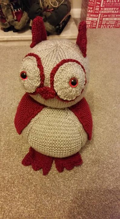Owl door stop, in a senior moment I used chunky and 4.5mm needles and not DK and 3mm as stated in pattern.