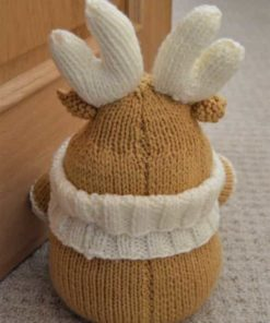 knitted reindeer doorstop