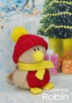 KBP-208 - Robin Knitting Pattern Knitted Soft Toy