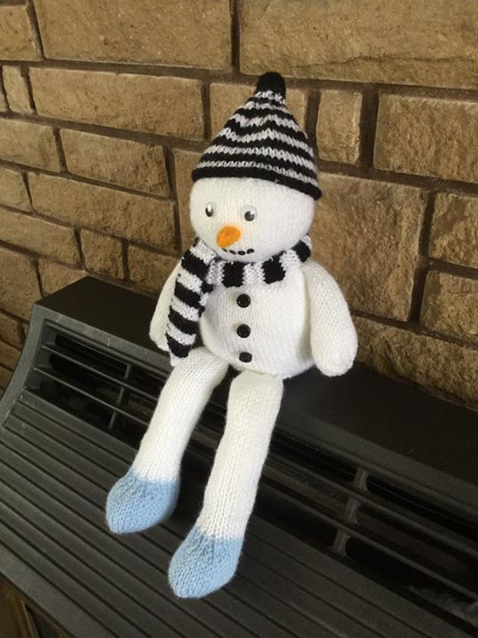 Snowman on a shelf..sorry if not allowed i made small changes to pattern my son insisted he wanted like this