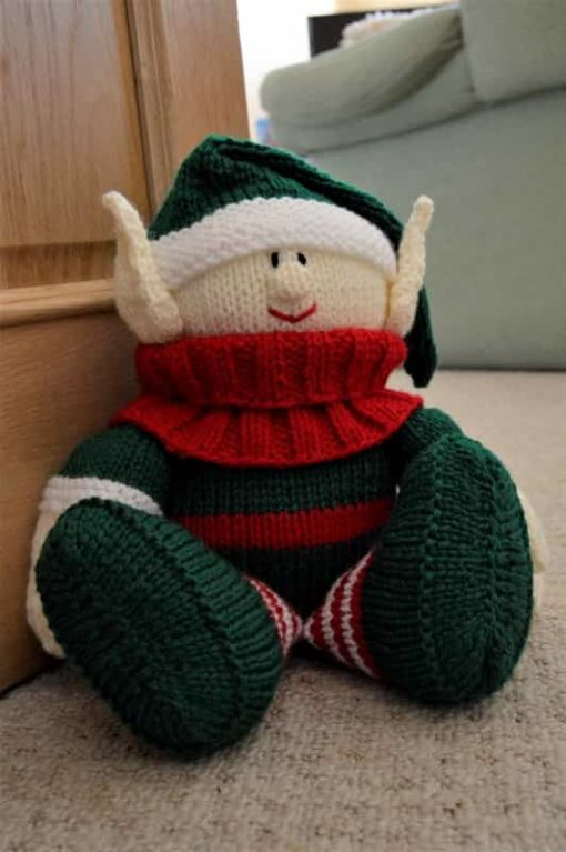 elf doorstop knitting pattern with big ears and red scarf