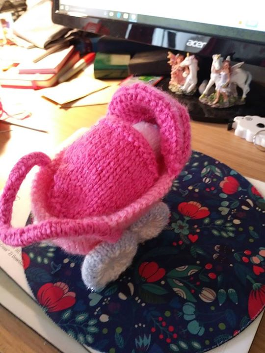 pink pram blue one in procees of being made.