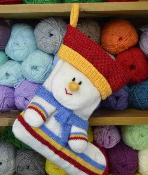Snowman Stocking Knitting Pattern