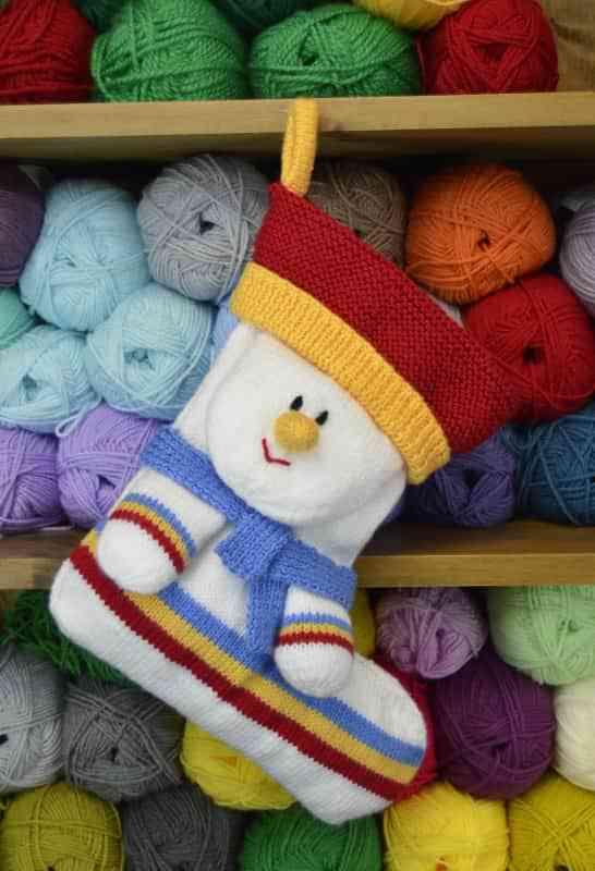 Snowman Cushion Knitting Pattern : Snowman Stocking   Knitting by Post