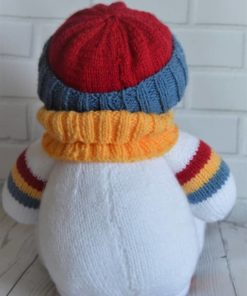 back of snowman softie knitting pattern in white with stripes