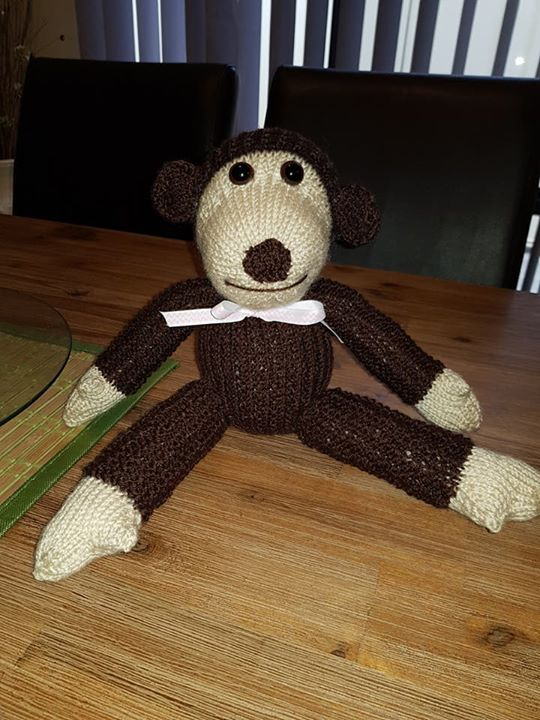 """My first """"Knitting by post"""" character. Made him for my mum who loves monkeys.  Super happy with him"""