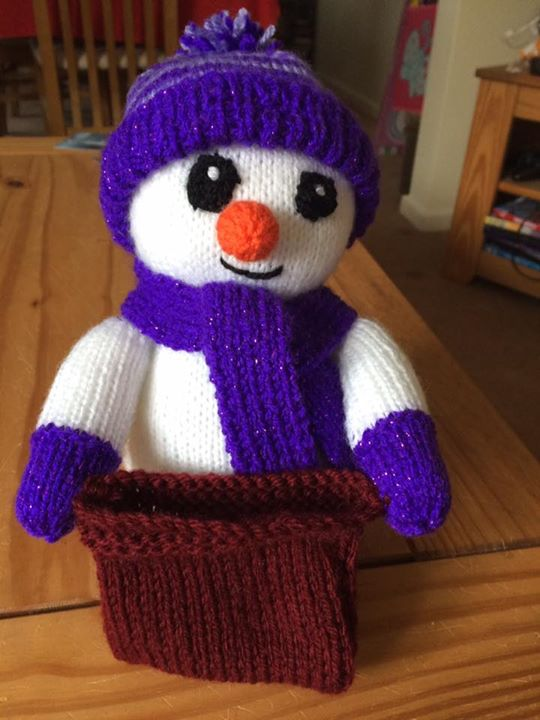 Done snowman door stop in dk and made a sack to put some goodies in