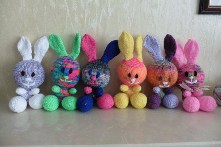 Janet Firmin added a photo to the album: Funky Rabbits for my Xmas stall in Knitting by Post - Finished Toys.
