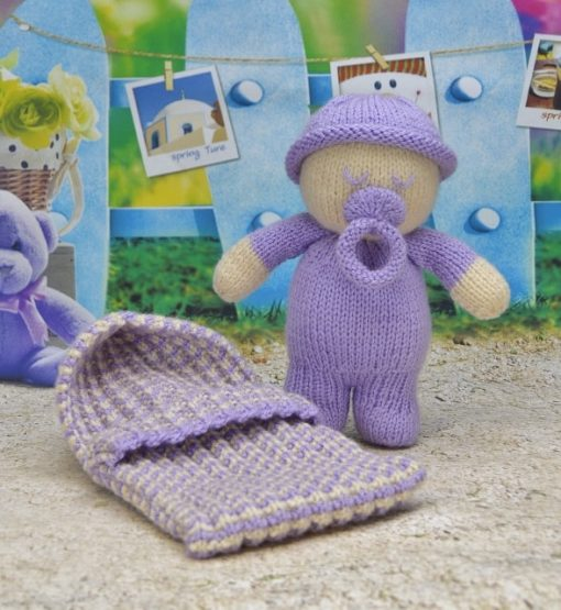 baby with sleeping bag pattern