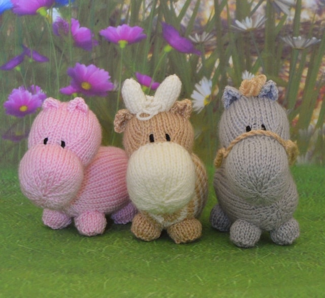 Miniature Hippo Horse Cow Knitting By Post