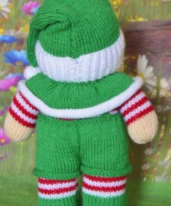 back of elf knitting pattern with dungarees and green hat