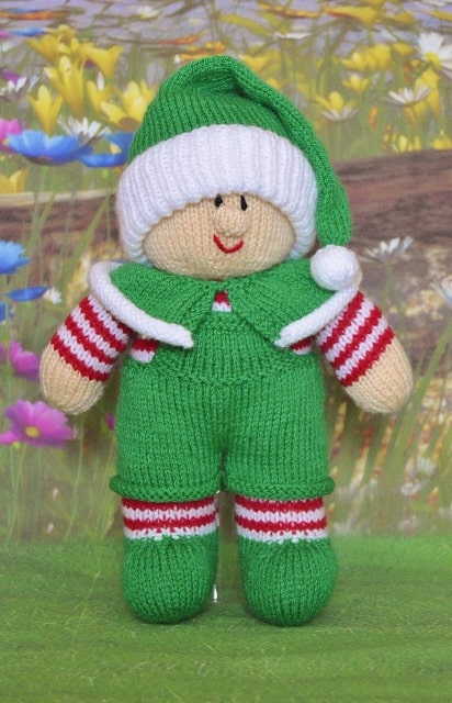 elf knitting pattern in green dungarees and red and white stripe body bobble hat