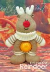 KBP-254 - choc orange Reindeer Knitting Pattern Knitted Soft Toy