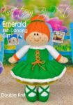 KBP-291 - Emerald Irish dancing girl Knitting Pattern Knitted Soft Toy
