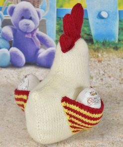 knitted hen pattern with eggs