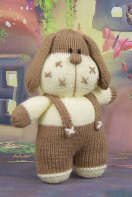 craft knitting pattern toy plushie dog in brown and cream double knitting yarn