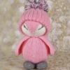 pinky the penguin knittig pattern soft toy with pom-pom hat