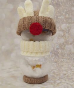 knitted reindeer with fillable baubles