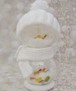 knitted snowman with fillable baubles