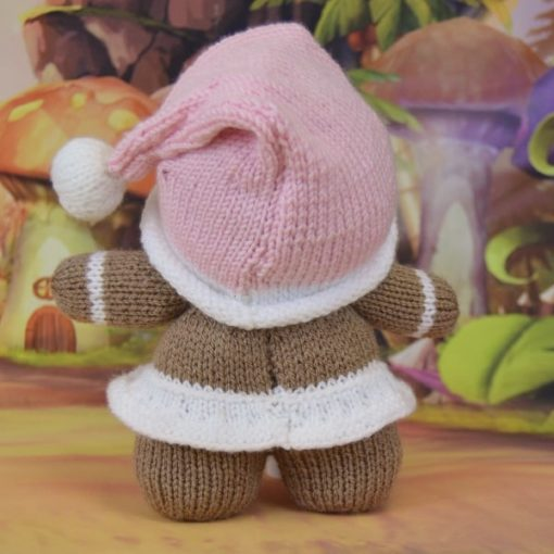 back of knitted gingerbread girl
