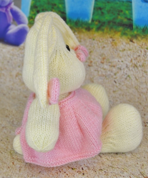 pink cotton candy bunny knitted cream