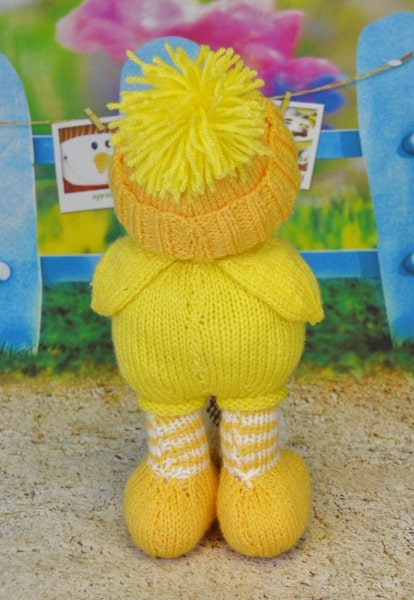 knitted duck standing back orange yellow