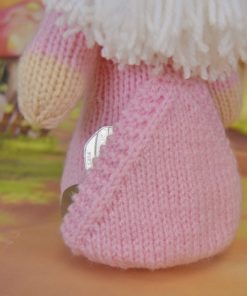 knitted gnome with pocket in pink