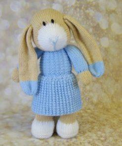 bunny rabbit easter knitting pattern in blue
