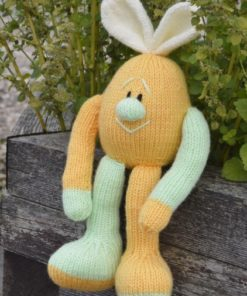 easter egg knitting pattern in orange with bunny ears